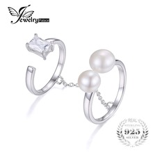 Jewelrypalace 925 cultivadas 6-7mm blanco perla de agua dulce de plata 2 band wrap anillo apilable para el conjunto de las mujeres joyería fina