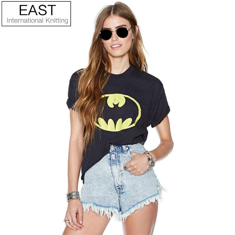New Hot Summer T Shirt Women Black Short Sleeve Tee Shirt Femme Batman Printed Punk Couples Clothes