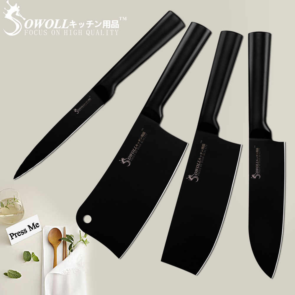 SOWOLL Stainless Steel Kitchen Knife Set Cleaver Nakiri Butcher Utility Japanese Cook's Knife Tools Hollow Handle Carbon Steel