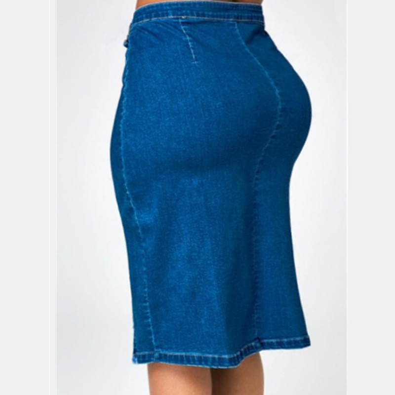 Summer new hot fashion personality stretch jeans slim high waist female denim skirt casual sexy large size female denim skirt in Jeans from Women 39 s Clothing