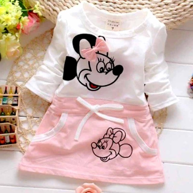 b8034449599c6 US $3.92 48% OFF|2018 New Hot Fashion Cute Minnie Stitching Dress Pure  cotton Long Sleeve Female Baby Cartoon Print Mini Knee Dress-in Dresses  from ...