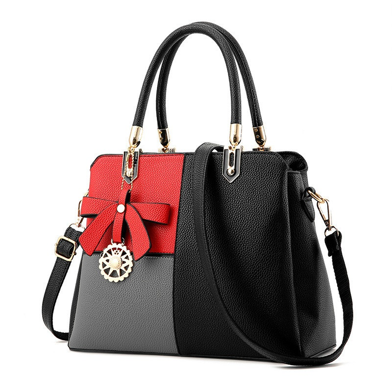 Stitching hit the color bow handbags 2018 new summer ladies handbag ladies Messenger Messenger bag