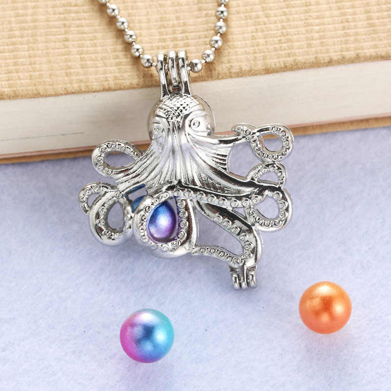 Bright Silver octopus Pearl Cage Jewelry Making Bead Cage necklace pendant Aroma Essential Oil Diffuser Locket For Oyster Pearl