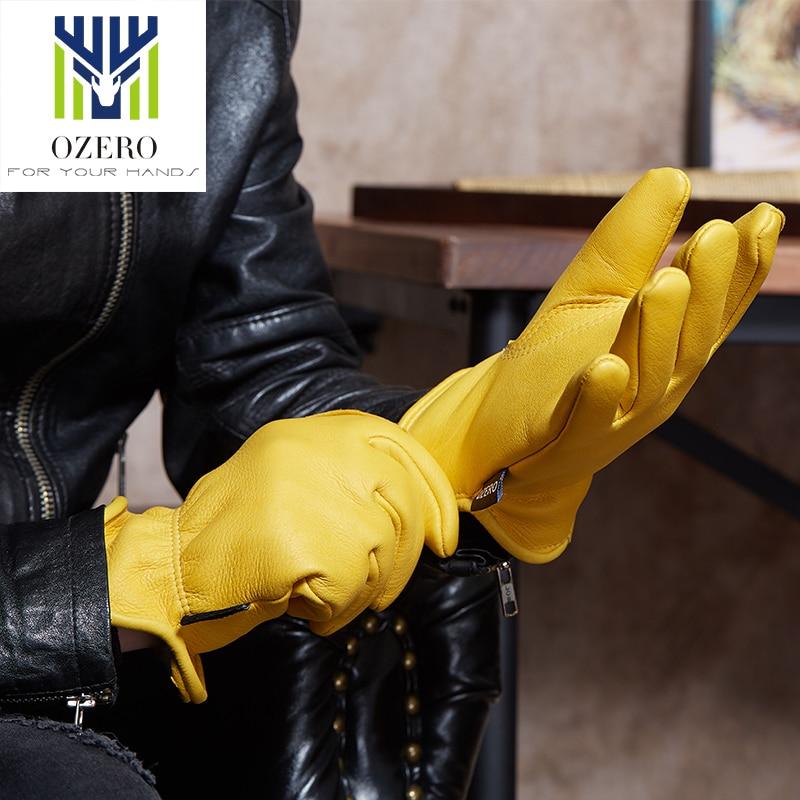 OZERO Deerskin Motorcycle Racing Gloves Man Sports Moto Motocross Anti Cold Anti Slip Snowboard Climbing Hiking Ski Gloves 8003