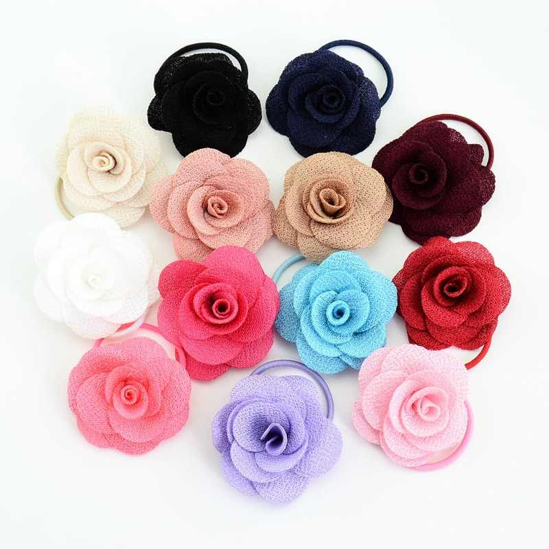 Girls Flower Fabric Hair Accessories Korean Multi-layer Three-dimensional Charming Big Rose Elastic Hair Bands Rubber Hair Ties