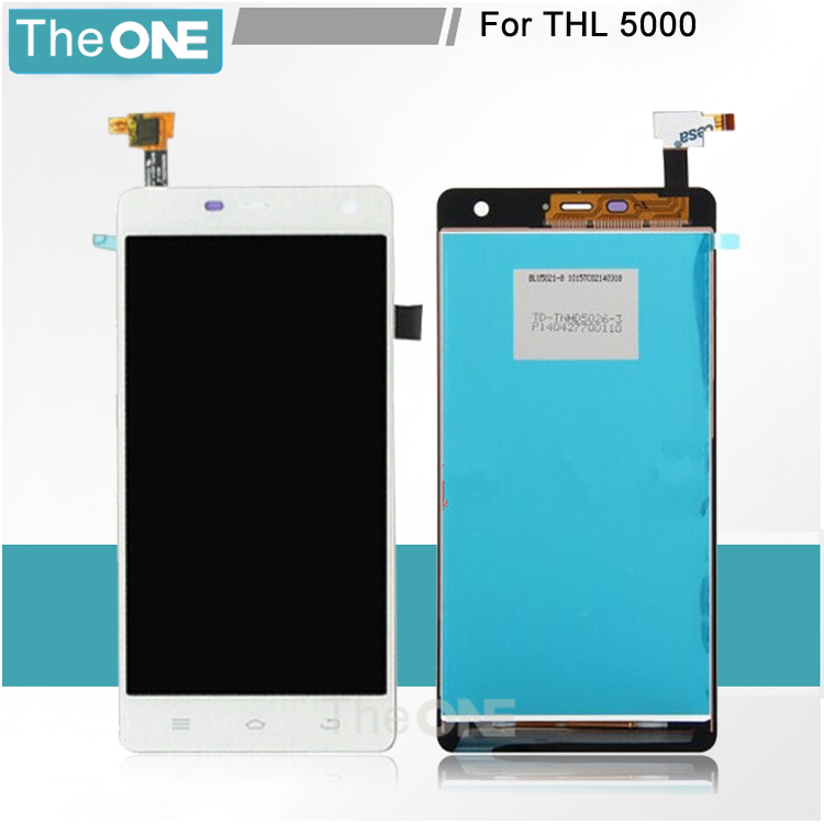 все цены на  For THL 5000 In Stock 100% Good Quality LCD Display+ Touch Screen Glass Assembly Replacement THL 5000 Free Shipping  онлайн