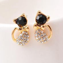 LASPERAL 1Pair Fashion Lovely Cat Earrings Hot Sale Rhinestone Stud Je