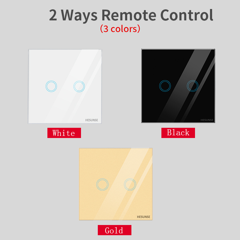 Hesunse New  2 way 110V-250V  wireless remote control switch with glass panel touch switch