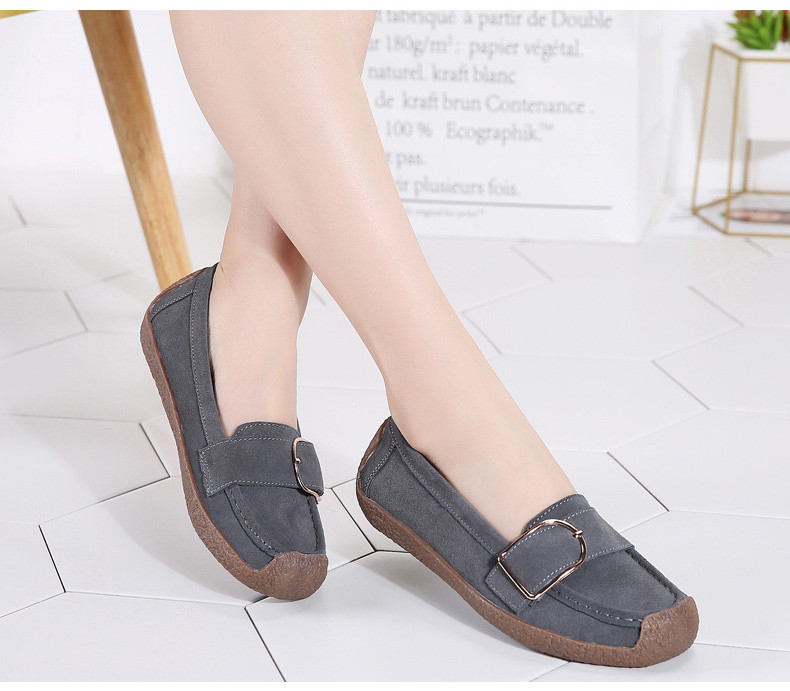 HX 7038-Spring Autumn Cow Suede Leather Women Flats-8