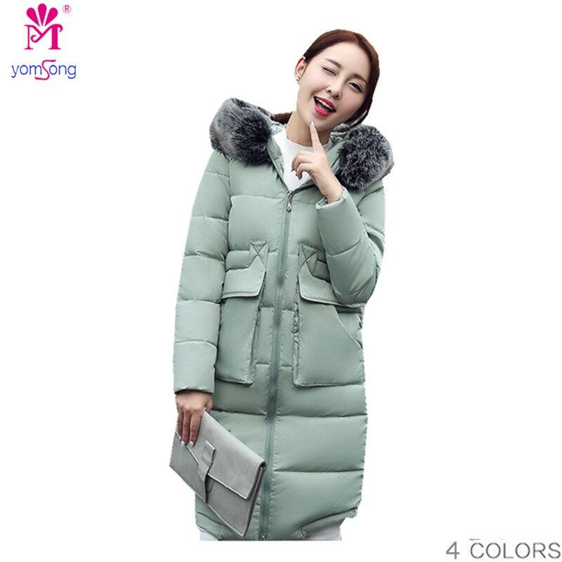 2016 New Cotton Female Korean Loose Size Thick Warm Fur Collar Large Long Down Cotton  Parkas  2025