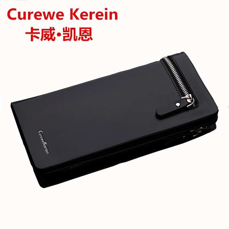 Curewe Kerien NEW Bifold Men Wallet Brand Famous Mens Leather Long Wallet Clutch Male Money Purse ID Card Holder  Masculina designer 2017 new mens ostrich wallet men clutch wallet cowhide genuine leather zipper long male purse phone holder famous brand