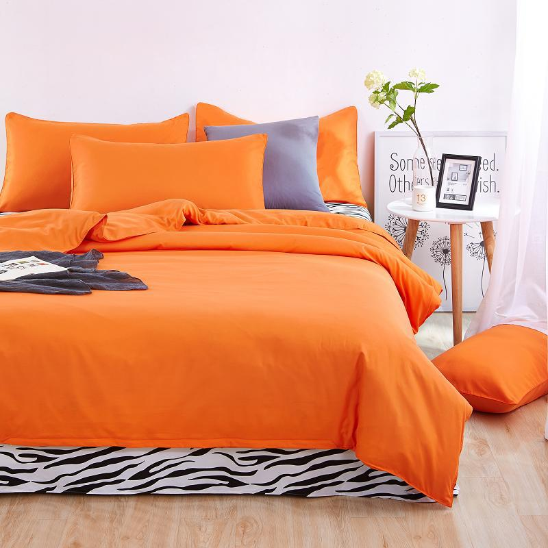 4pieces/set Nature Cotton Bedding set linens Soft Sharp color orange dekbedovertrek Duvet cover Pillowcases and strip Flat sheet nature explorer box set