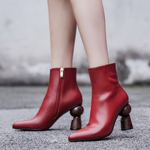 European style contracted tide girl ankle boots woman british sculpture heel martin autumn winter high-heeled pumps