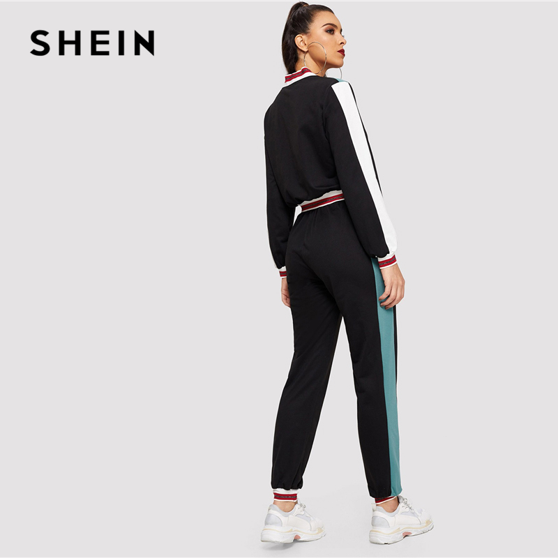 SHEIN Black Color Block O-Ring Zip Up Stand Collar Sweatshirt and Sweatpants Set Women Autumn Elegant Workwear Twopiece 2