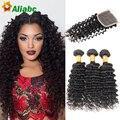 8A Brazilian Virgin Hair Brazilian Deep Wave With Closure 3/4 Bundle Queen Hair With Closure Bundle Brazillian Hair With Closure