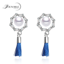 Real freshwater pearl earrings for women,925 silver earrings with pearl jewelry,trendy natural pearl earrings white mother gift nymph seawater pearl bracelets fine jewelry near round natural pearl bangles for women gold trendy anniversary gift [s308]