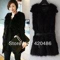 Новинка женщин зима мода черный теплый искусственного меха с жилет куртка пальто жилет бесплатная доставка