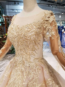Image 5 - HTL125 muslim wedding dresses 2020 o neck long tulle sleeve beaded shiny lace cheap wedding gown fashion New material mariage