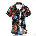 2016 moda manga curta silm fit pirnting casular camisa flor masculina camisa de algodão mercerizado de alta elasticidade/homens camisa curta