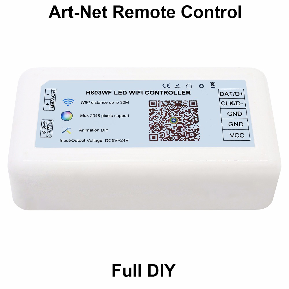 led wifi controller,full DIY,drive max 2048 pixels,support dozens of chips,support ArtNet remote control hot sale dmx512 wireless sd card controller support 2048 pixels