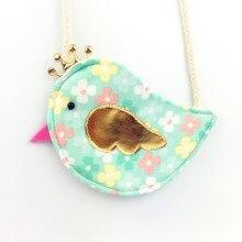 Gold Crown Bird Children Coin Purse Cute Baby Girls Colorful Messenger Bag Handmade Cotton Fabric Bag for Kids Gift for Children