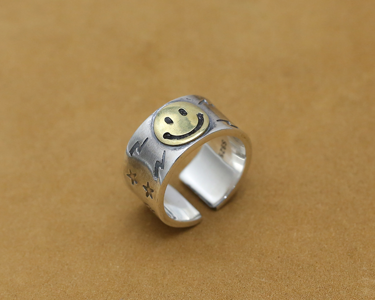 Улыбка лицо сплошной Серебро 925 Толстая манжеты группа кольца Для мужчин ручной работы Pure 925 пробы Серебряные ювелирные изделия Прохладный ...