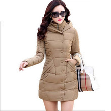 New 2016 Women Coat Slim Zipper Button Women's Jacket Clothes Winter Outerwear Warm Down Coat Fashion Clothes Hooded