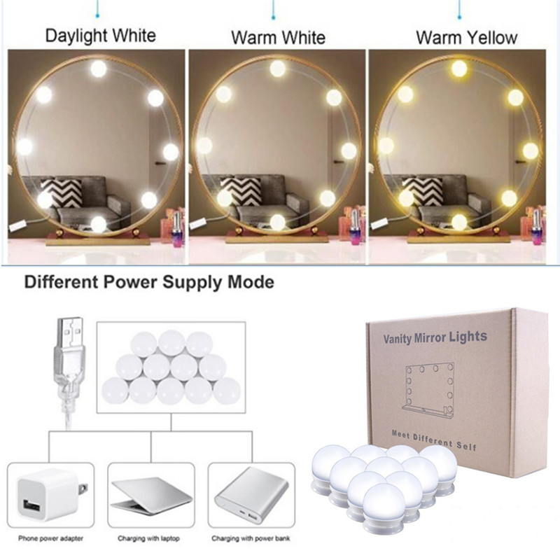 Haut Pflege Werkzeuge Schminkspiegel Intelligent Led Spiegel 10 Lampen Make-up Licht Schönheit Machen Up Dressing Kosmetik Spiegel Licht Kits Hollywood Stil Usb Port Eitelkeit #289551 Elegante Form