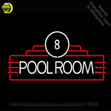 8 Pool Room Neon Sign Decorate Real Glass Tube Neon Bulbs Recreation Game Room Neon Sign Store Display Super Bright VD 17x14(China)