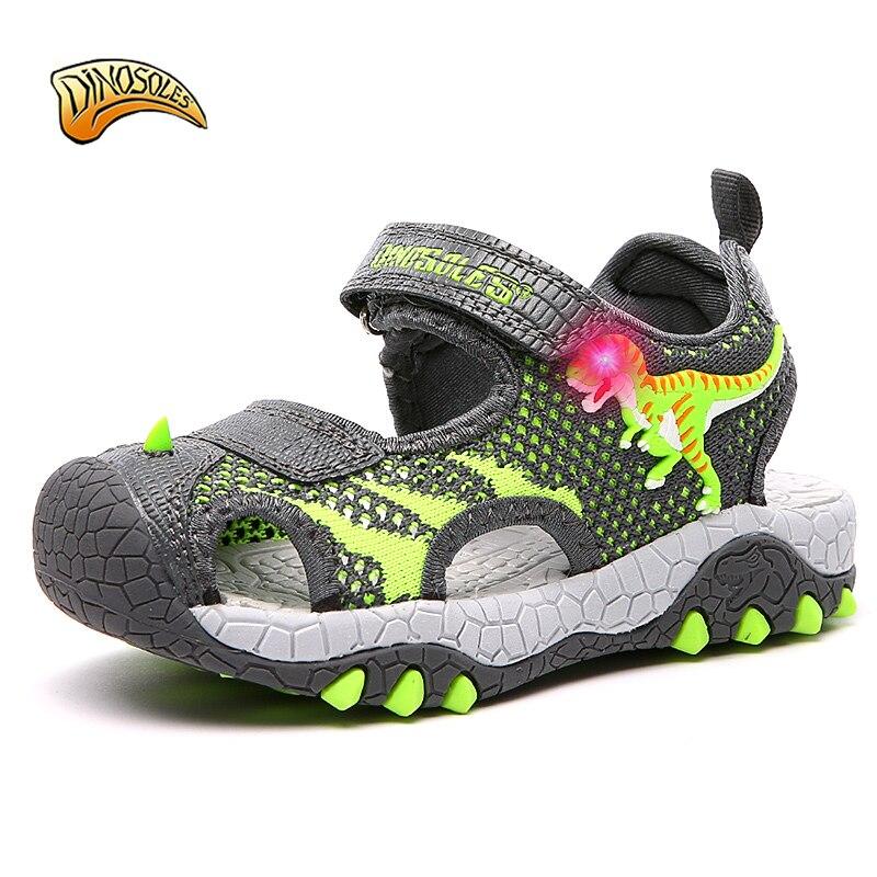 New Kids Boys Sandals LED Shining 2019 Summer Toddler Shoes Light Up 3D Dinosaur Children's Mesh Breathable Beach Shoes