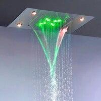 Современные дождь и водопад Насадки для душа 110 В ~ 220 В переменного тока красочные светодио дный Ванная комната Топ набор для душа L 50X36P