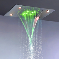 Contemporary Rain And Waterfall Shower Head 110V~220V Alternating Current Colorful LED Bathroom Top Shower Set L 50X36P
