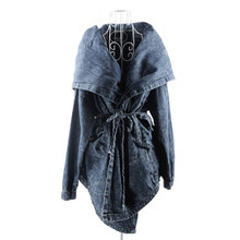 2016 Spring Women's New Outerwear Hoodie Jeans Coat Denim Hooded Trench Coat