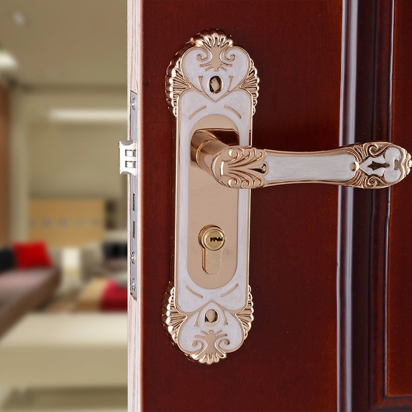 European simple fashion ivory white bedroom bookroom door locks amber white indoor lock Mechanical handle lock bearing lock body european fashion ivory white bedroon door handles antique bronze mute wooden door lock gold indoor locks modern simple