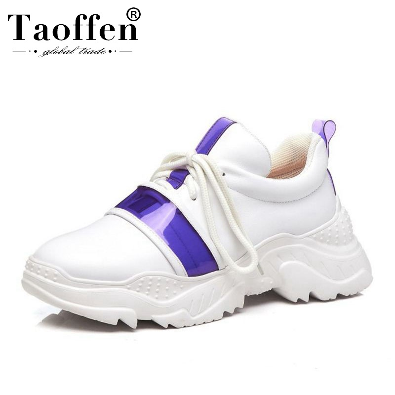Taoffen Women Casual Sneaker Real Leather Quality Outdoor Brand New Shoes Women Lace Up Jogging Platform
