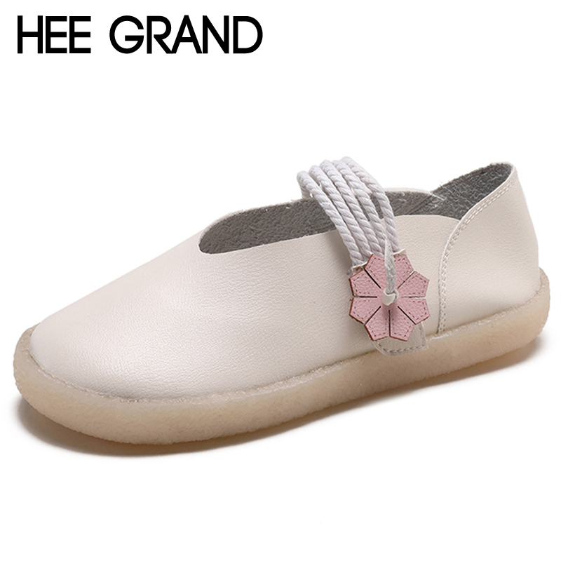 HEE GRAND Women Ballet Flats Platform Loafers Slip On Cross Tied Shoes Women Comfort Women Flats 3 Colors Creepers XWD6857 hee grand pearl ballet flats 2017 crystal loafers bling slip on platform shoes woman pointed toe women shoes size 35 43 xwd4960