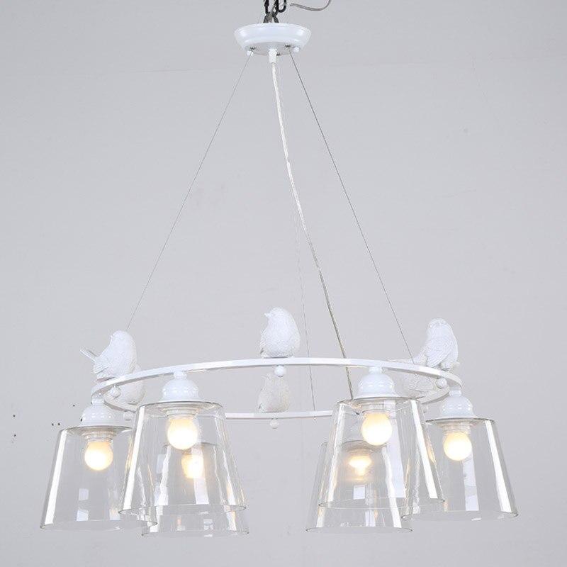 Moderne licht anhänger lampe e27 220 v für decor esszimmer wohnzimmer suspension leuchten glas lampenschirm harz vogel weiß eisen