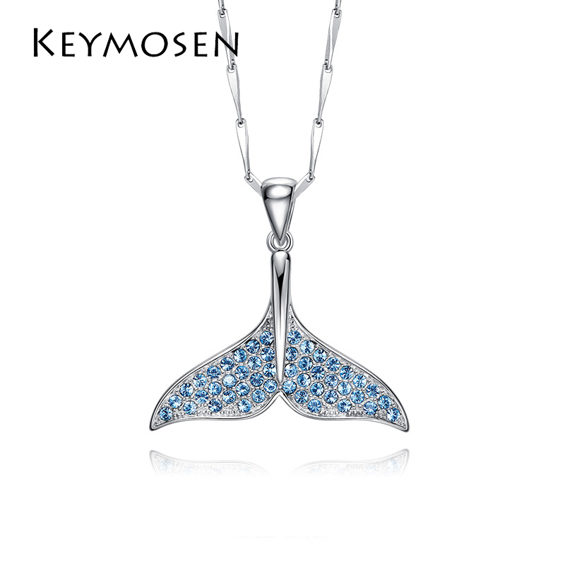 Mermaid Fishtail Necklace Dolphin Necklace S925 Sterling Silver Using High-Quality Crystal To Create