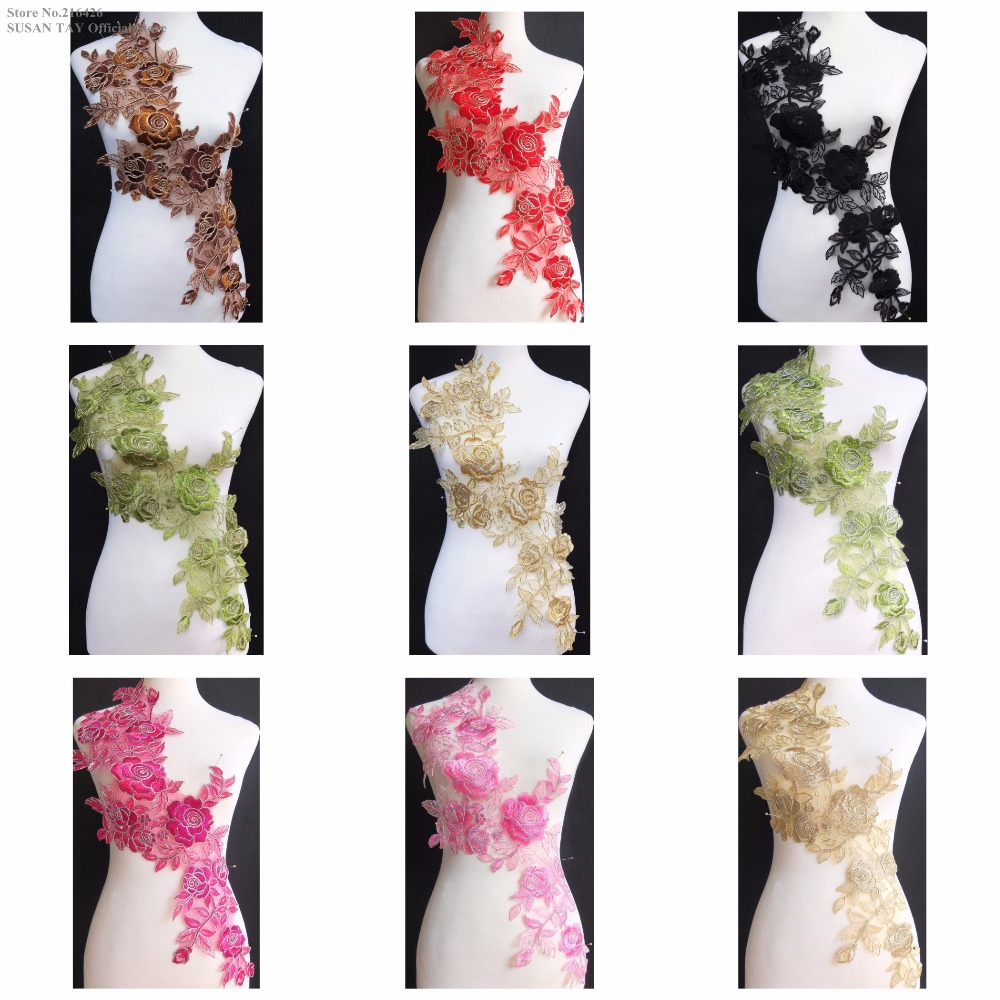 New 9Color Gold Cream Olive Green Flower Embroidery Lace Appliques Patches Dance Costume DECOR Sewing DIY