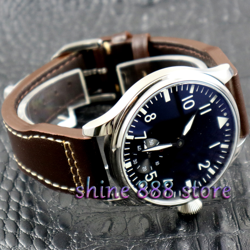 44mm parnis Black dial Green luminous 17 jewels 6498 movement hand winding mens watch