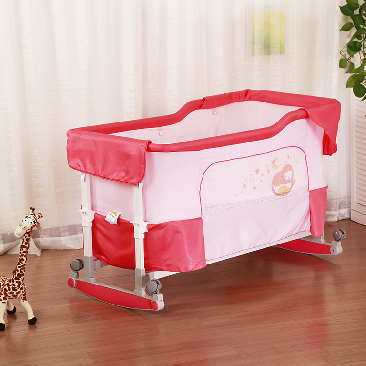 Multifunctional Baby Cradle Newborn Baby Bed Infant Portable Folding Baby Crib Shaker Bed 2 in 1 Rolling Baby Playpen Crib C01 foldable crib baby crib bed shaker cradle baby bed bb summer appease hong shui bed