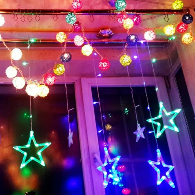 five pointed star multi color led curtain fairy string lights for window lighting for