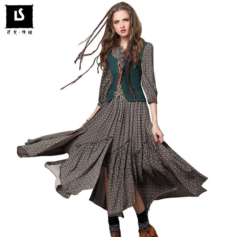 Brand Original Women s Vintage Dress Long sleeve Spring Summer Slim Waist Elegant lady printed Basic