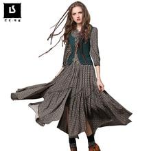 Brand Original Womens Vintage Dress Long-sleeve Spring Summer Slim Waist Elegant lady printed Basic Splicing irregular Dresses