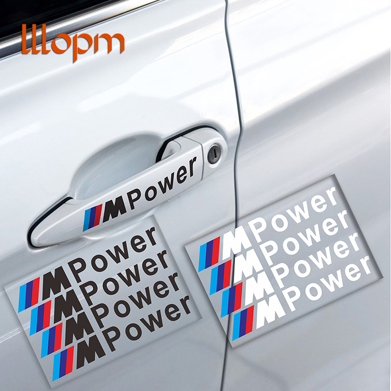 Car styling 4PCS M Power Car Decal Door Handle Auto Stickers Decoration for BMW Covers M3 M5 X1 X3 X5 X6 E36 E39 E46 E30 E60 E9 cool car auto decoration badge stickers m logo metal 3d car sticker for bmw m3 m5 x1 x3 x5 x6 e36 e39 e46 e30 e60 e92 all model