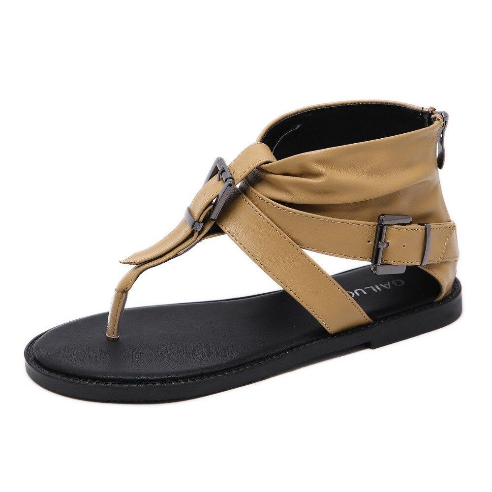 2019 Zomer Visgraat Teen Gesp Lichtgewicht Vrouwelijke Sandalen Mode Comfortabele Platte Bodem Grote Omvang Hoge Sandalen Vrouwen