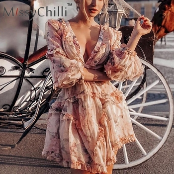 MissyChilli Sexy v neck backless summer playsuit Women chiffion beach short jumpsuit Elegant pink ruffle party romper overalls 2