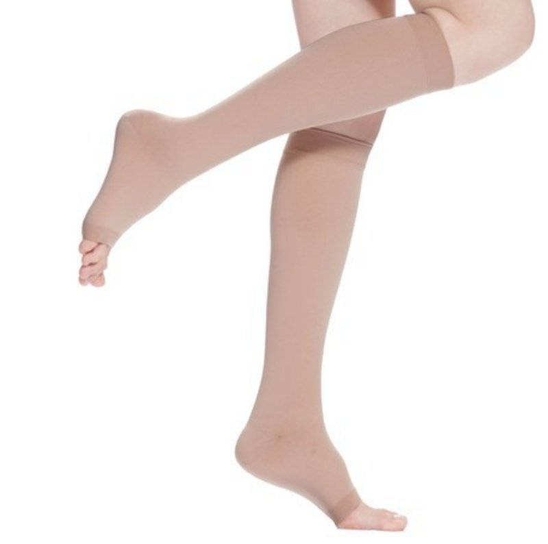 62cb6a0015 18 21mmHg Knee High Compression Stockings Men Women Elastic Leg Support  Stockings Open Toe S XL-in Stockings from Women's Clothing & Accessories on  ...