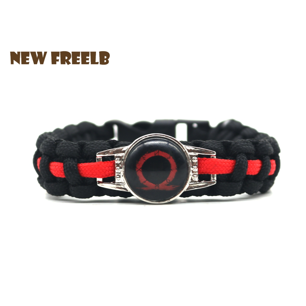 New&Classic Game God of War 4 Logo Paracord Bracelets Black Red Handmade Survive Outdoor Jewelry for Women and Men fans 4 Styles