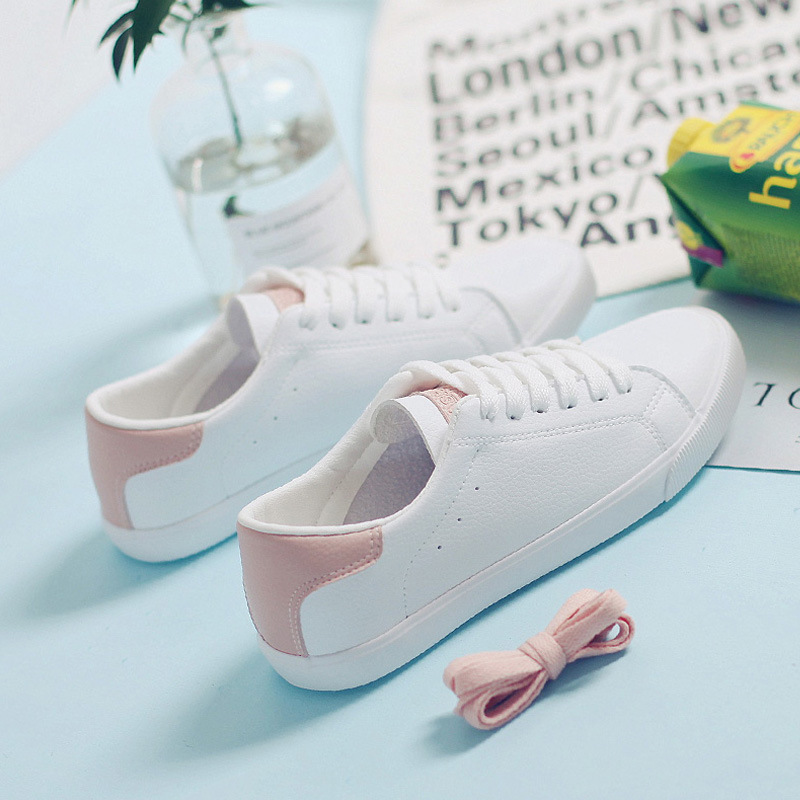 Women White Shoes All Match Must Have 2019 Spring New Lady Soft Leather Shoe Casual Pink Shoes Lace Up Chic Sneaker Good Quality